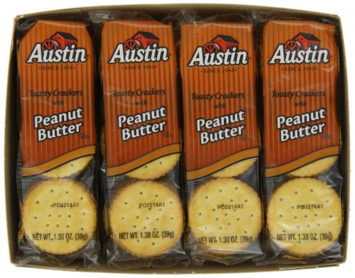 Austin Toasty Crackers with Peanut Butter, 8-Count Packages (Pack of 6)