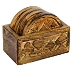 Icrafts Wooden Coasters Set of 4 Drink Coaster for Tea Cups Coffee Mugs Wine (design6)