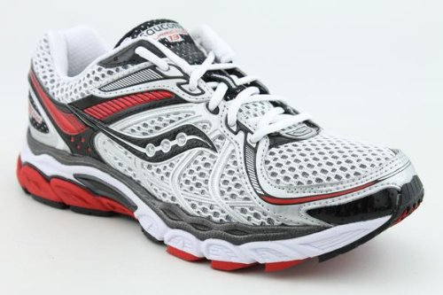 Saucony Men's Progrid Hurricane 13 Running Shoe,White/Black/Red,10.5 M US
