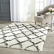 Safavieh Moroccan Shag Collection MSG343A Ivory and Grey Area Rug (4 x 6)