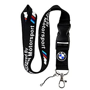 Bmw Motosport Logo Keychain Key Chain Black Lanyard Clip With Webbing Strap Quick Release Buckle by BMW Motosport