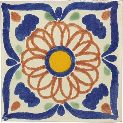 Hand Painted Mexican Talavera Ceramic Tile - 4x4 Universe