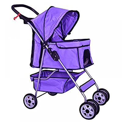 Purple 4 Wheels Pet Stroller Cat Dog Cage Stroller Travel Folding Carrier 04T