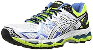 ASICS Gel-Kayano 21, Running Entrainement Femmes - Blanc (White/Lightning/Flash Yellow 191), 39.5 EU