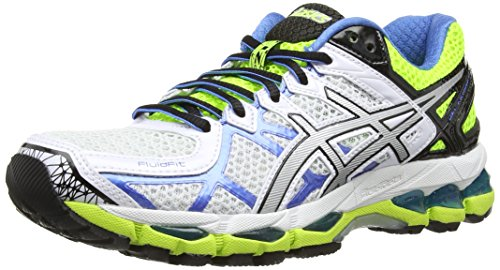 Asics Gel-Kayano 21, Scarpe sportive, Donna, Bianco (White/Lightning/Flash Yellow 191), 38