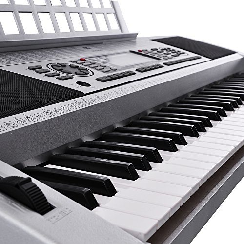 AW 61 Key LCD MIDI Silver Electric Keyboard Music Digital 37x14x5