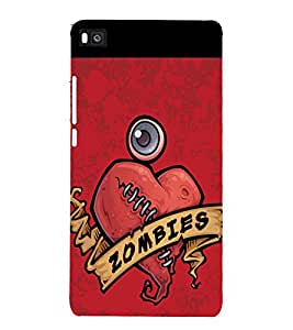 printtech Zombies Heart Back Case Cover for Huawei P8