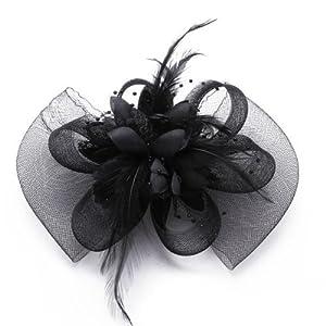 SODIAL(R) Clip Pinza Tela Organza Aleacion Flores Negro Adorno de Pelo Hairwear   Comentarios de clientes y más Descripción