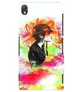 PrintVisa Stylish Cool Girl Army 3D Hard Polycarbonate Designer Back Case Cover for Sony Xperia Z3 Mini