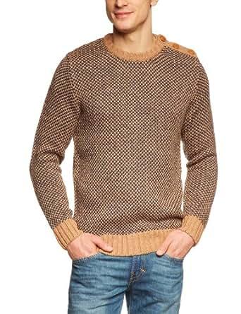 SELECTED HOMME Herren Pullover 16028480 Kendall crew neck, Gr. 50 (M), Mehrfarbig (Sand)