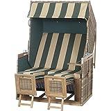 Siena Garden 70008012/163 Strandkorb Rustikal 150 Z Dessin 163, 100 x 120 x 170 cm, Teakholt und Gepflecht PE natur, zerlegt, grün / beige gestreift