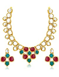 Sukkhi Resplendent Gold Plated Kundan Necklace Set For Women