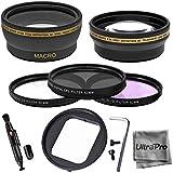 52mm Lens Kit 2x Telephoto Lens 0.45x HD Wide Angle Lens W/ Macro 3-pc Filter Kit (UV CPL FLD) For GoPro Hero...