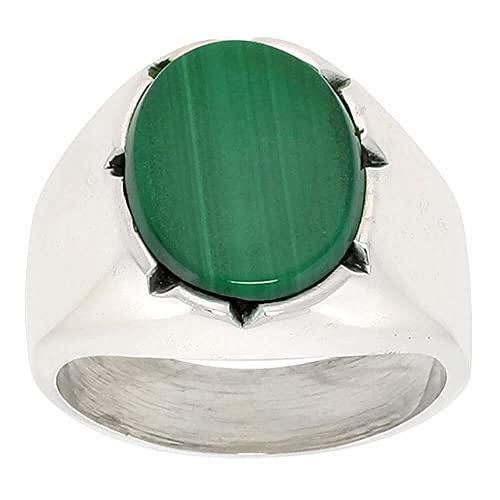 Gent's Sterling Silver Large Oval Malachite Ring