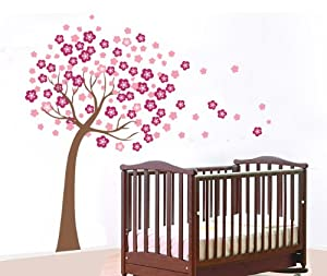 Removable Vinyl Kids Wall Decal Wall Sticker Peel and Stick - Trailing Cherry Blossom Tree Decal from JS80SHOP