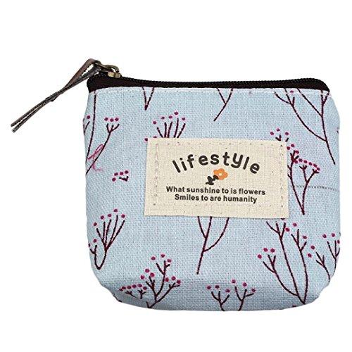 Fortan Piccola tela borsa della chiusura lampo portafoglio Holder Lady portamonete della borsa chiave (Blu)