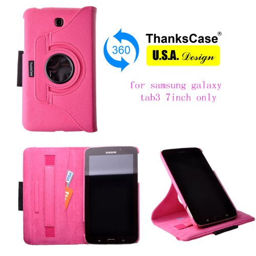 Thankscase for Samsung Galaxy Tab 3 7.0 Rotating Case Cover with Pocket with Hand Strap with Stylus Holder,ultra Slim Lightweight Smart Shell Standing Cover Case for Samsung Galaxy Tab 3 7.0 Sm-t210r / Sm-t211.(pink)