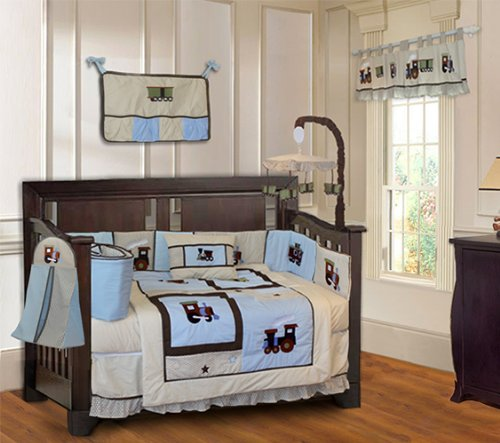 BabyFad Train 10 Piece Baby Crib Bedding Set