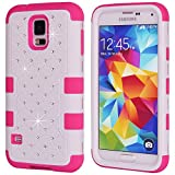 Image of Galaxy S5 Case, Galaxy SV Case, NOKEA Hybrid Heavy Duty Shockproof Full-Body Protective Case Ultra Slim Bumper Cover 3 in 1 Shield Soft TPU Hard PC Dual Layer Impact Protection (White Rose)