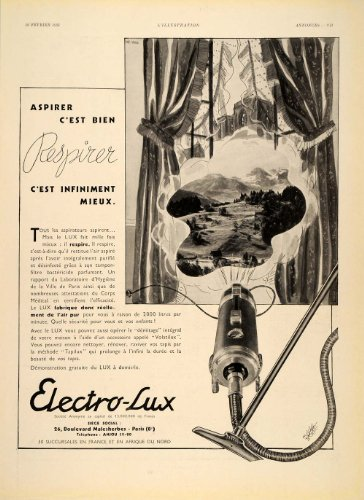 1935 French Ad Electro-Lux Vacuum Cleaner Aspirateur - Firsthand Print Ad