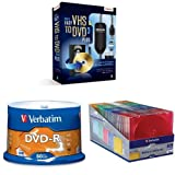 Bundle: Easy VHS to DVD 3 Plus and Verbatim 4.7 GB Branded Recordable Disc and DVD Storage Cases