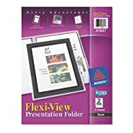 Flexi-View Two-Pocket Polypropylene Folder, Translucent Black, 2/Pack