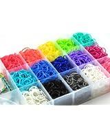 Ateam Lot de 4200 élastiques avec 170 fermoirs, 5 crochets et 1 casier de rangement 21 couleurs