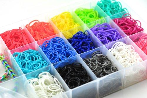 Loom Bänder Set & Clips Collection mit 4400 Bandz + Clips + Haken + Anhänger Loom Sortiment mit bis zu 20 verschiedene Farben und großer Aufbewahrungsbox - latexfrei