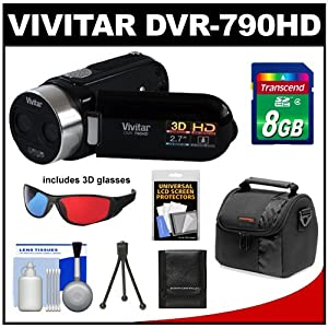 Vivitar DVR-790HD 3D HD Digital Video Camera Camcorder (Black) with 8GB Card + Case + Accessory Kit