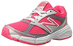New Balance KJ514 Youth Lace Up Running Shoe, Pink/Silver, 3 M US Little Kid