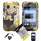 4 items Combo: ITUFFY (TM) LCD Screen Protector Film + Mini Stylus Pen + Case Opener + Design Rubberized Snap on Hard Shell Cover Faceplate Skin Phone Case for Prepaid Android Smartphone ZTE Whirl Z660G /Straight Talk (Deer Tree Camouflage)