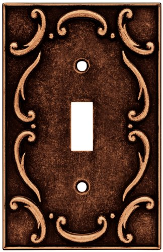 Brainerd 64268 Traditional French Lace Single Toggle Switch Wall Plate / Switch Plate / Cover, Sponged Copper