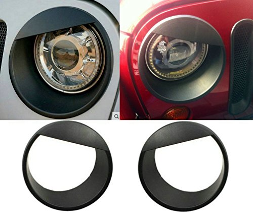 Sunroadway® 2015 Latest Black Bezels Front Light Headlight Angry Bird Style Trim Cover ABS For Jeep Wrangler Rubicon Sahara Jk 2007-2015