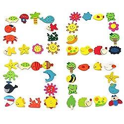 Catterpillar Colored Wooden Cartoon or Nature Theme Fridge Magnets ( Set of 12 Random Magnets )