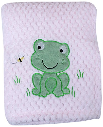 My Baby Frog Design Plush Blanket, Pink front-9263