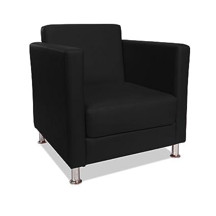 Poltrona imbottita 100% ecopelle nera arredamento design salotto casa CUBO-N
