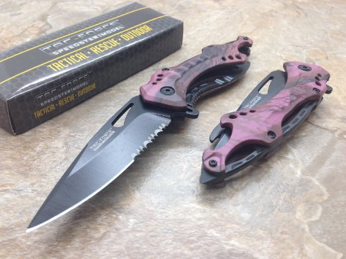 Tac Force Assisted Opening Rescue Tactical Pocket Folding Collection Knife Outdoor Survival Camping Hunting w/ Bottle Opener - Pink Camo