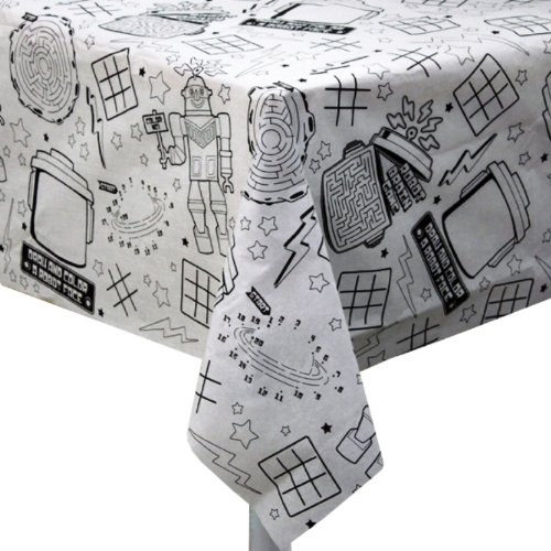 Creative Converting Paper Activity Party Bot Tablecover, 54 X 108 Inches