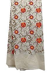 Inhika Women's Kurti Fabric (Inhika_446_Cream Orange Yellow Brown)