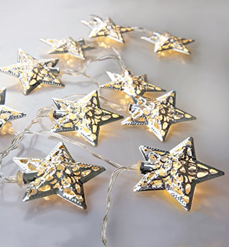 Velice Battery Operated Warm White LED Fairy Lights 10 Metal Star String Decoration Light for Christmas (Silver)