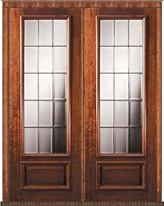 Pre Hung French Double Door 96 Mahogany French 2 3 Lite Glass 6 2 Entry Doors