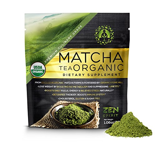 Matcha Green Tea Powder Organic ( Japanese Premium Culinary Grade ) - USDA & Vegan Certified - 30g (1.06 oz) - Perfect for Baking , Smoothies , Latte , Iced Tea , Herbal Teas . Gluten & Sugar Free (Matcha Organic Green Tea Powder compare prices)