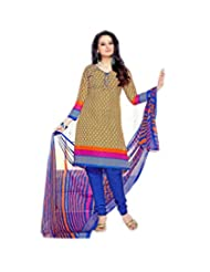 Sky Fashions Women's Multi Cotton Top Un-stiched Salwar Suit (SYFW0034)