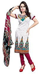Parinaaz fashion White Crepe Straight Unstiched Salwar Suit Dress Material
