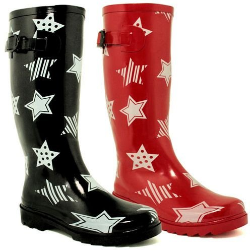 New Star Festival Wellies In Black and Red