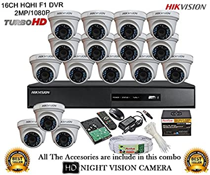 Hikvision-DS-7216HQHI-E2-16CH-Dvr,-16(DS-2CE56DOT-IRP)-Dome-Camera-(With-Mouse,-Remote,2TB-HDD,-Bnc&Dc-Connectors,Power-Supply,Cable)
