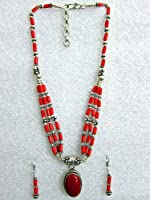 Bohemian Fashion Jewelry 3-strands Coral Beaded German Silver Necklace Pendent with Earring from mogulinterior