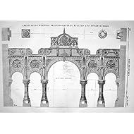 Impresión Antigua de 1867 Dirigir Centrales de los Entablatures de los Pilares de la Estación de Bombeo de los...