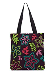 Snoogg Colorful Floral Seamless Pattern In Cartoon Style Seamless Pattern Designer Poly Canvas Tote Bag - B012FUJ3MI