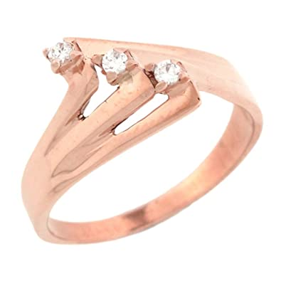 14ct Rose Gold Unique Design Promise Ring With Round Diamonds